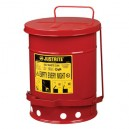 Justrite 09100 - 6 Gallon (20L) Oily Waste Can With Foot Operated Cover Red