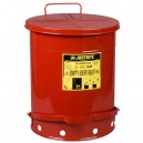 Justrite 09500 - 14 Gallons (52 Liters) Red Oily Waste Can With Foot Operated Cover